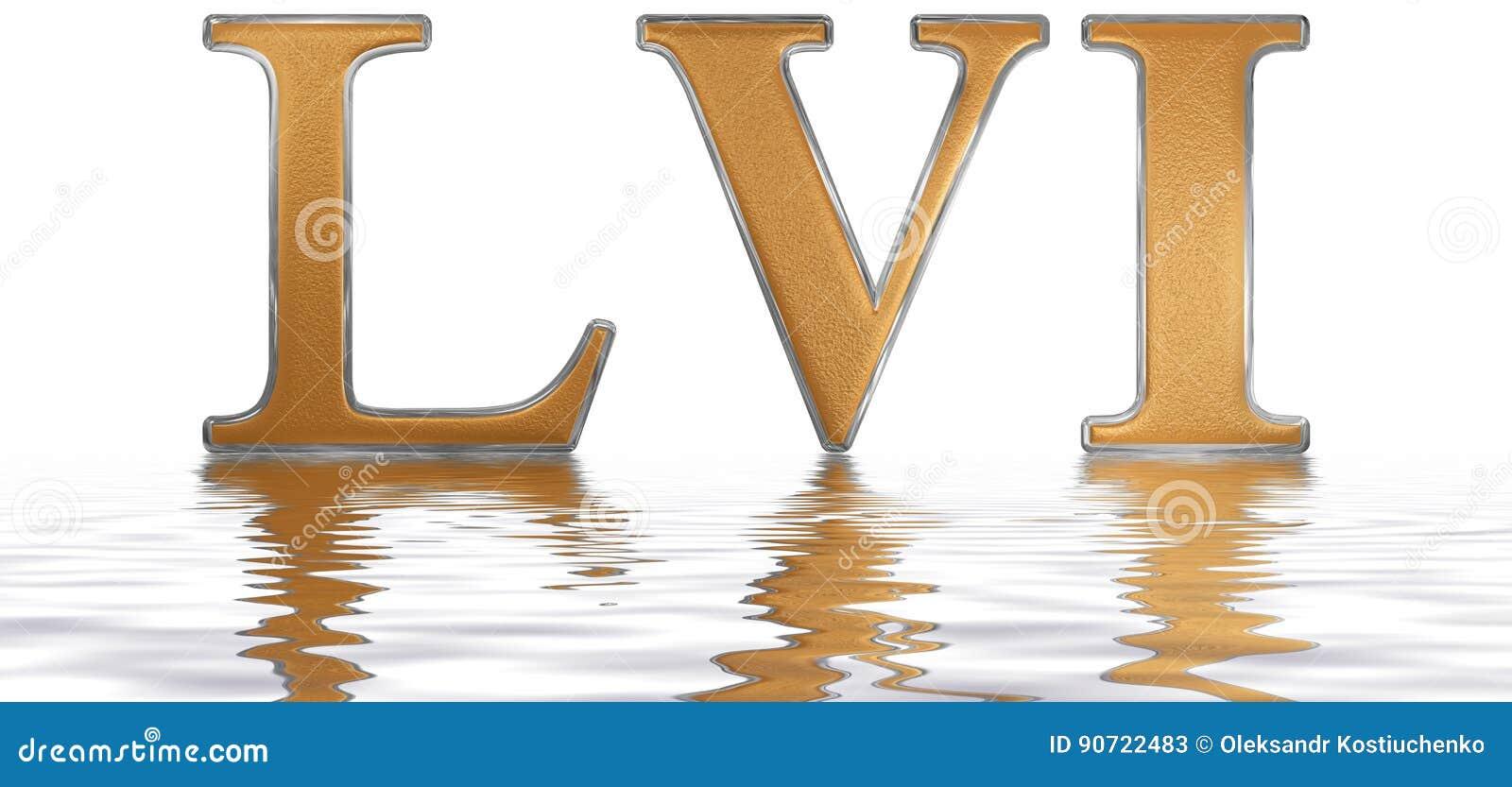 Roman Cijfer Lvi Geslacht Et Quinquaginta 56 Weerspiegelde