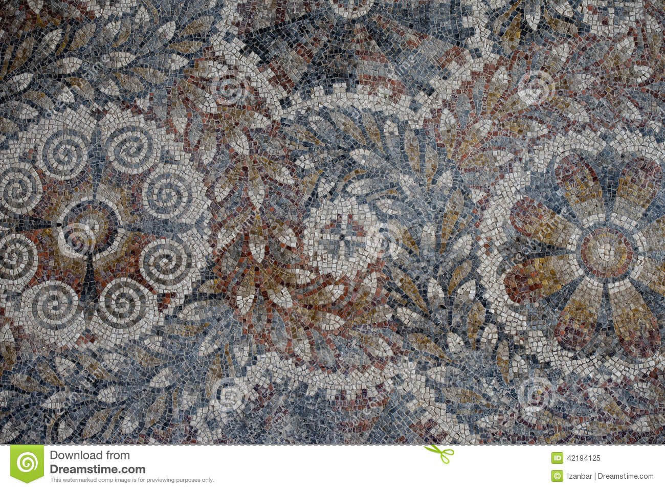 Roman Floor Mosaic Texture Stock Photo Image 42194125