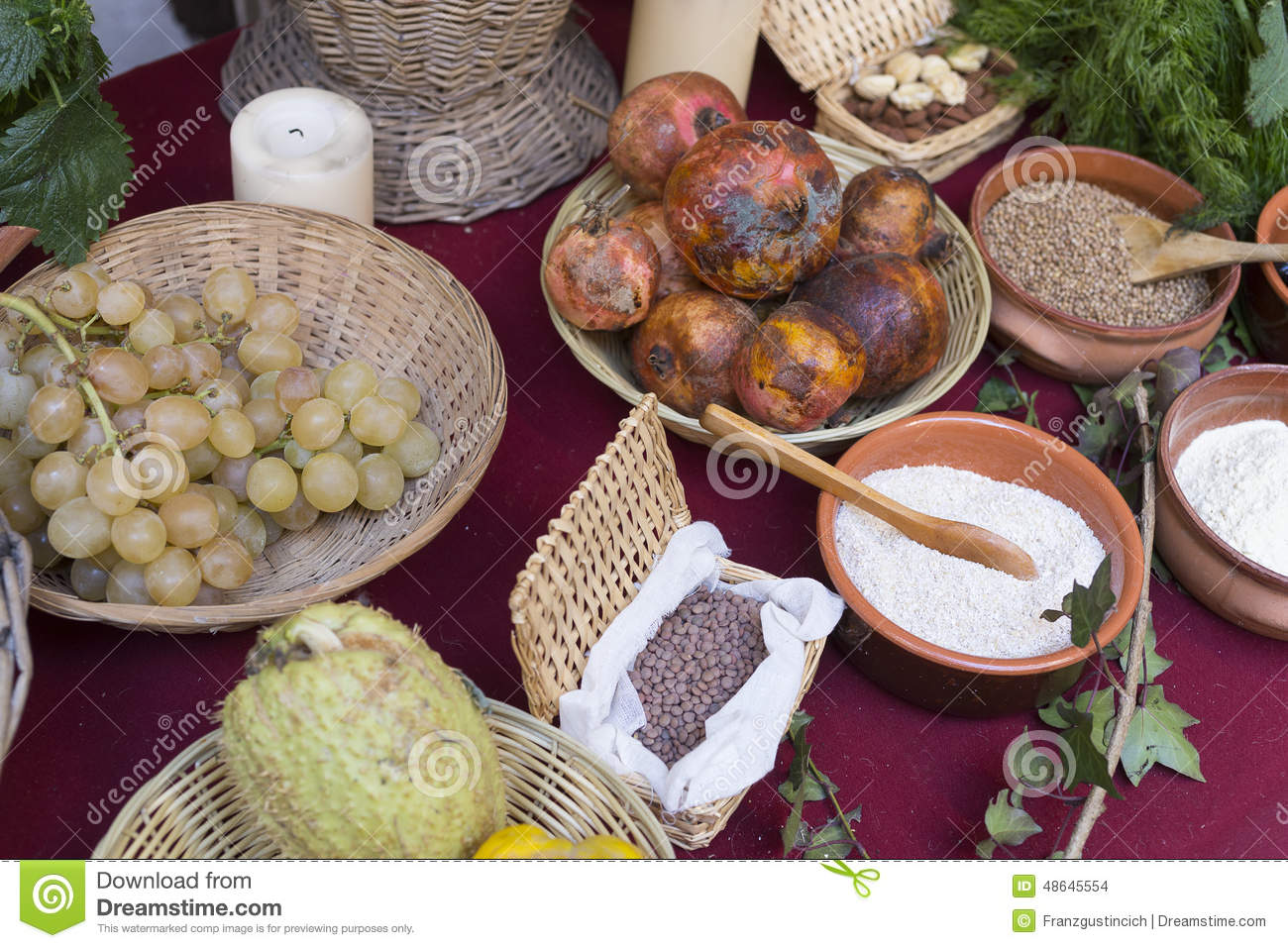 Ancient Roman Cuisine Of Roman Food From The Empire Stock Photo Image 48645554