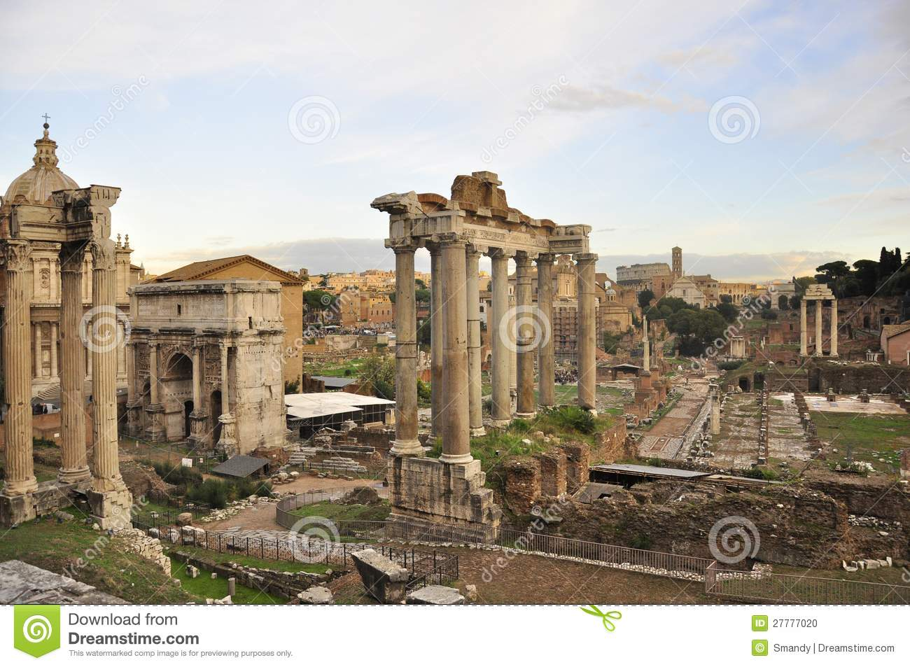Roman Forum And Colosseum Ruins Stock Photo - Image: 27777020