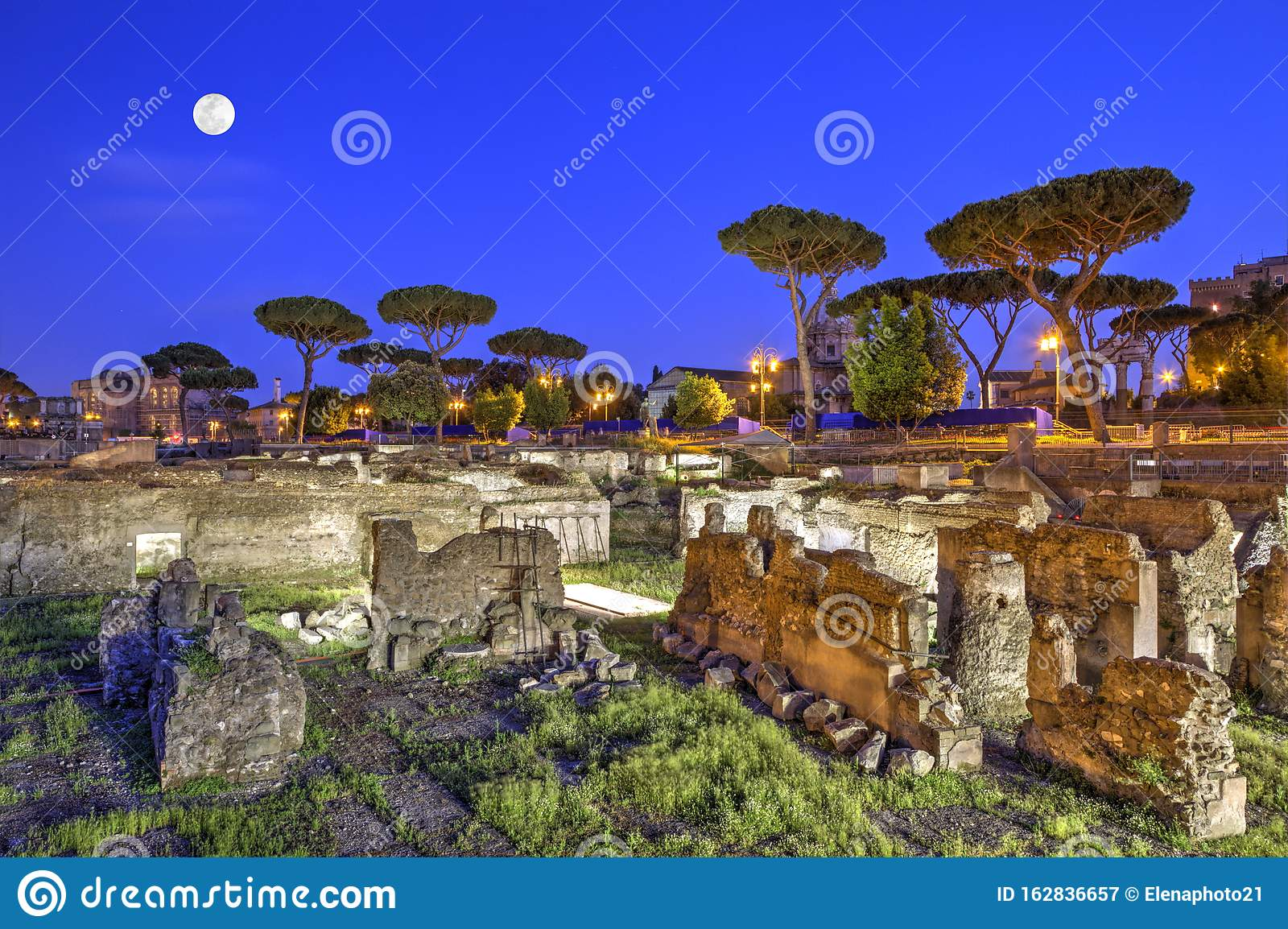 Roman Forum in Rome by night, Italy - HDR