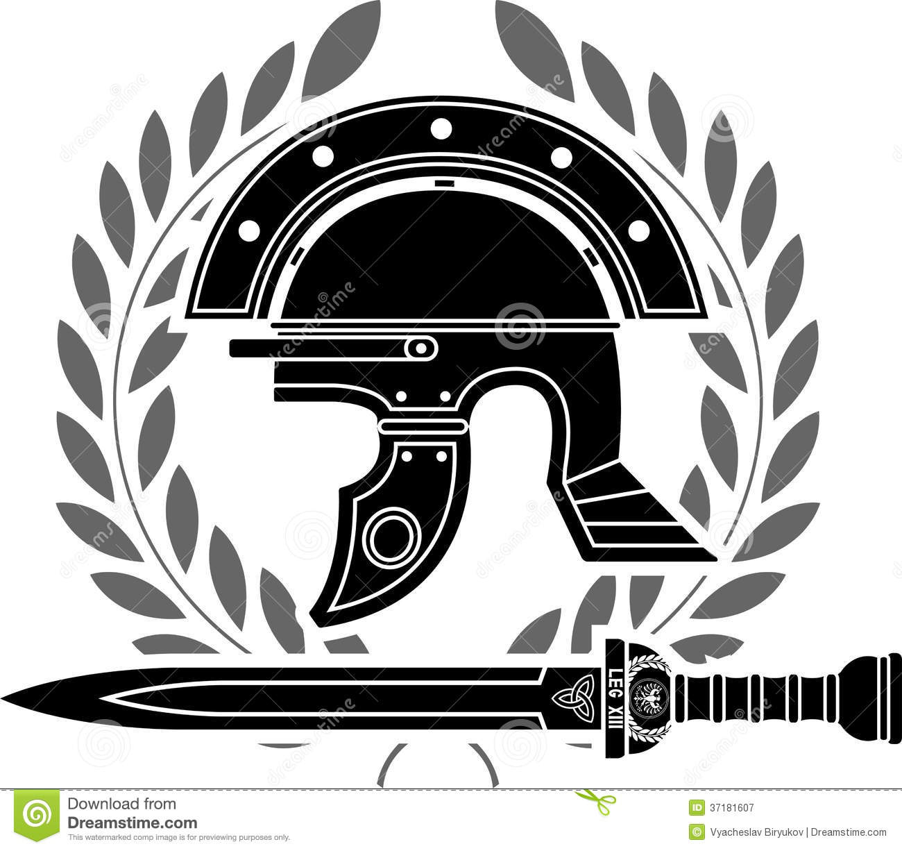 roman helmet stock vector illustration of roman leaf 37181607. Black Bedroom Furniture Sets. Home Design Ideas