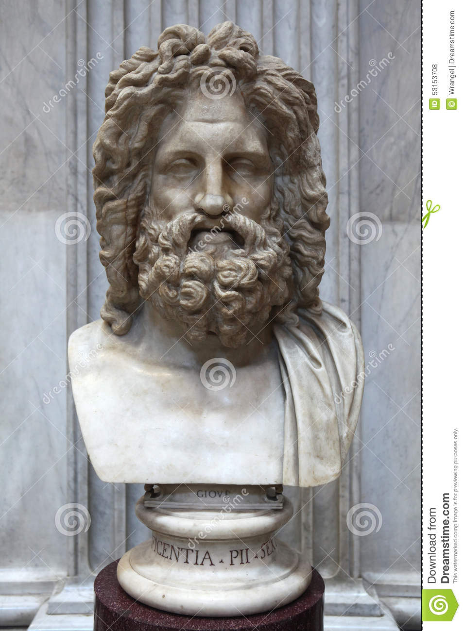 Roman Marble Bust Of Zeus Editorial Stock Photo Image Of