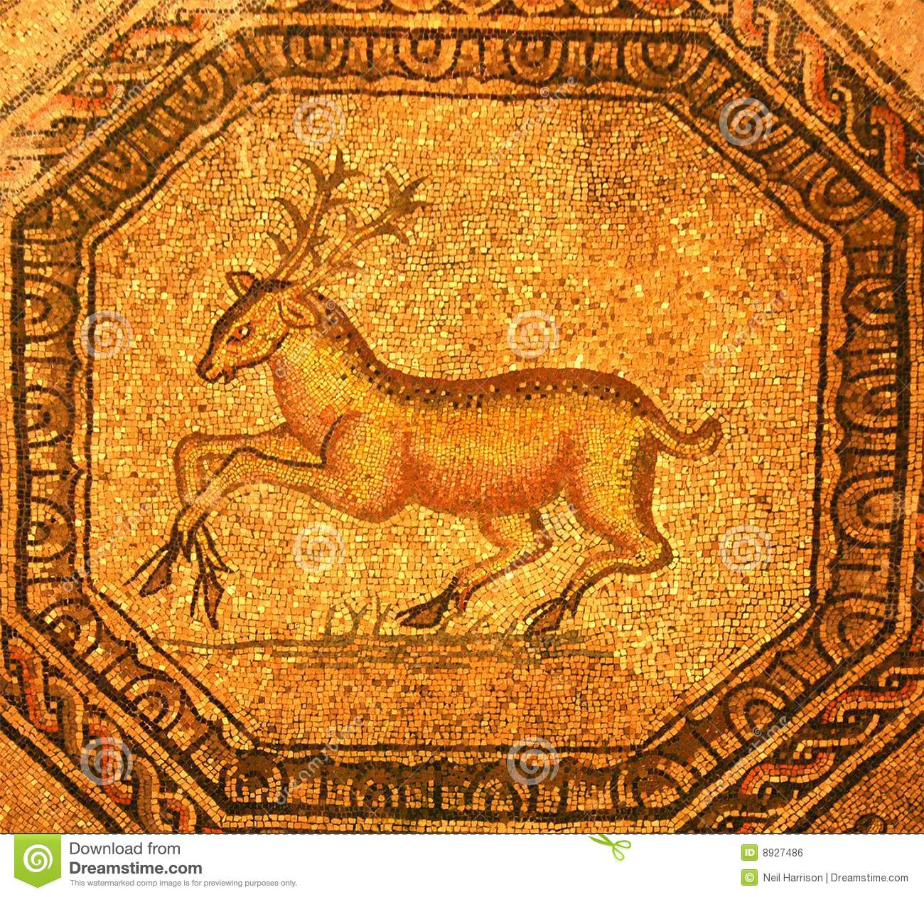 Roman Mosaic Of A Golden Stag Stock Photo Image 8927486