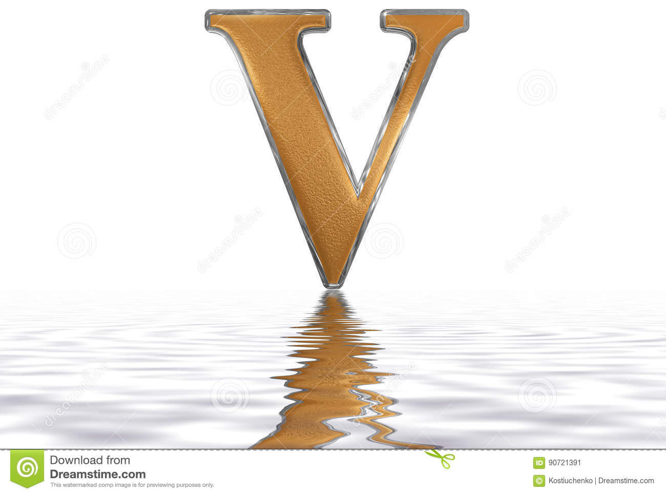 Roman Numeral V Quinque 5 Five Reflected On The Water Surface
