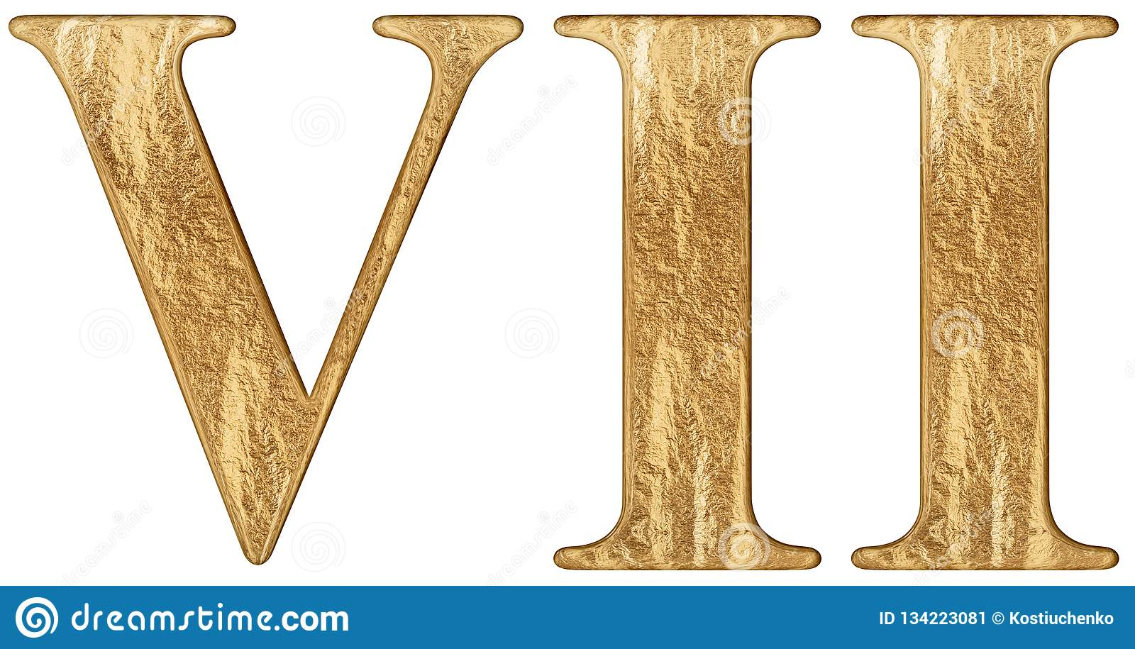 Roman Numeral Vii Septem 7 Seven Isolated On White Background