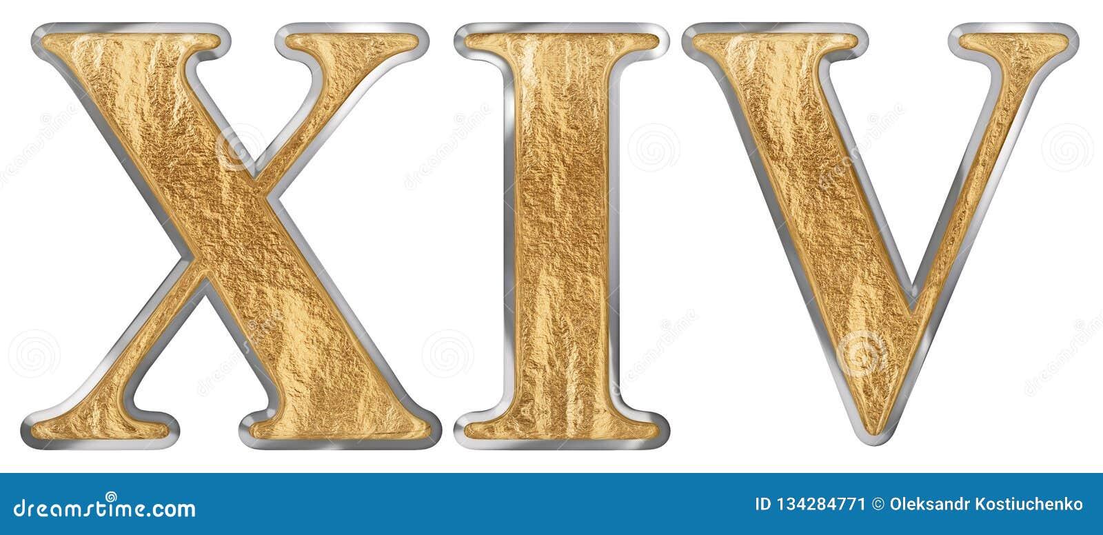 Roman Numeral Xiv Quattuordecim 14 Fourteen Isolated On White