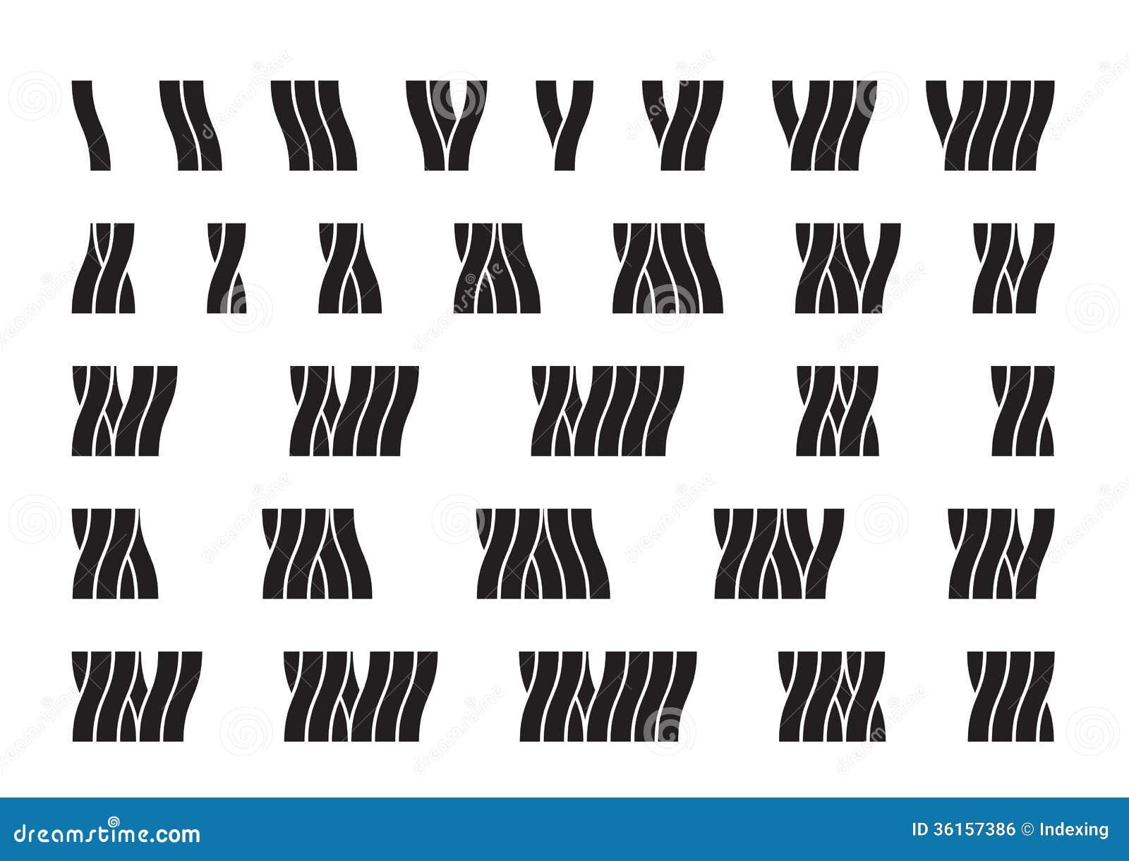 Roman numerals I - XXX Tree-like font Dendroid font Wavy liquid font ...