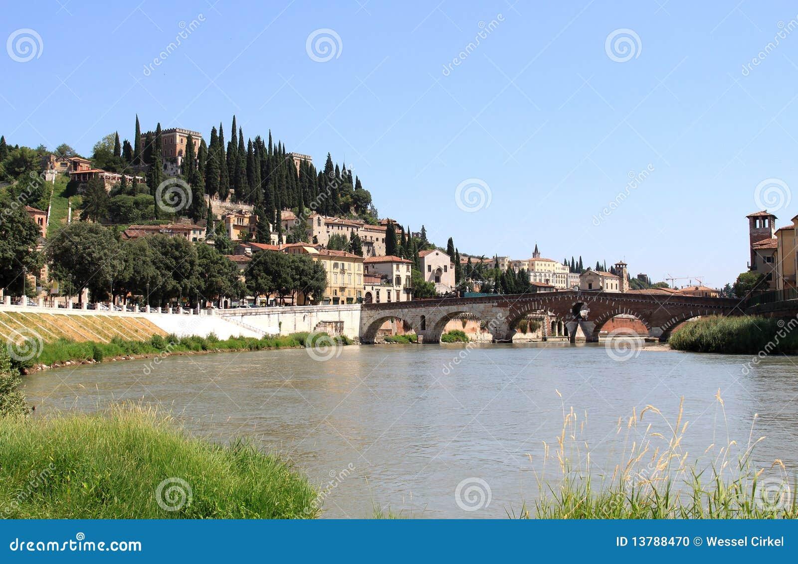 Roman Ponte Pietra over the Adige River, Verona