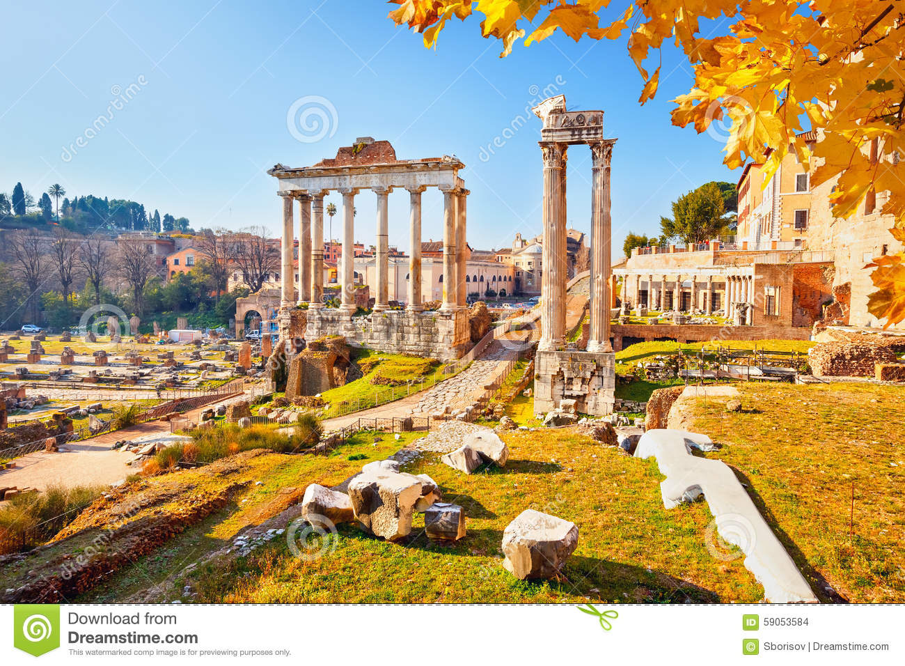 Roman Ruins In Rome, Forum Stock Photo - Image: 59053584