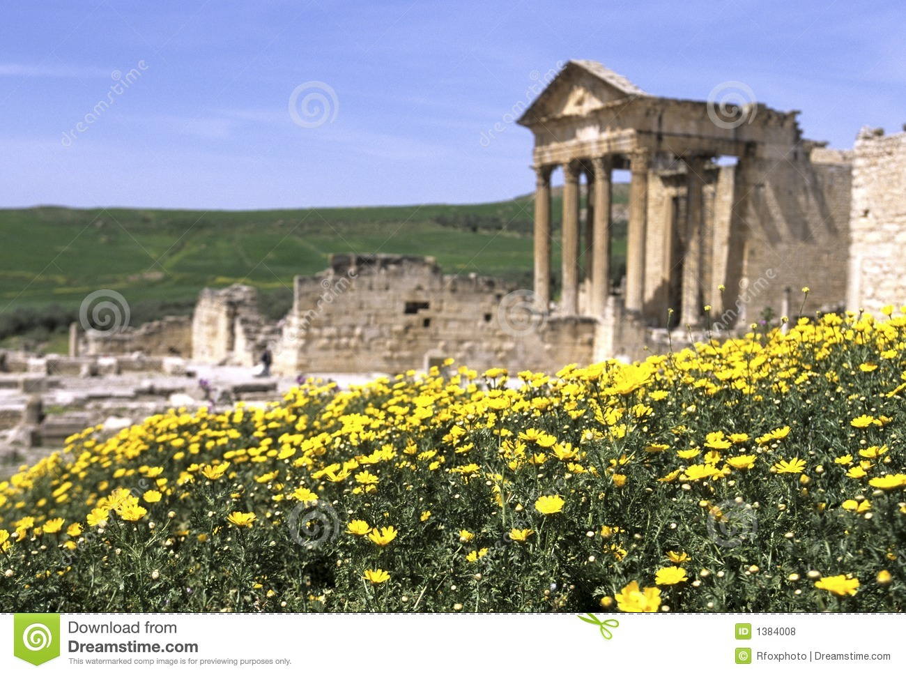 Download Roman ruins- Tunisia stock photo. Image of column, archaeogical - 1384008