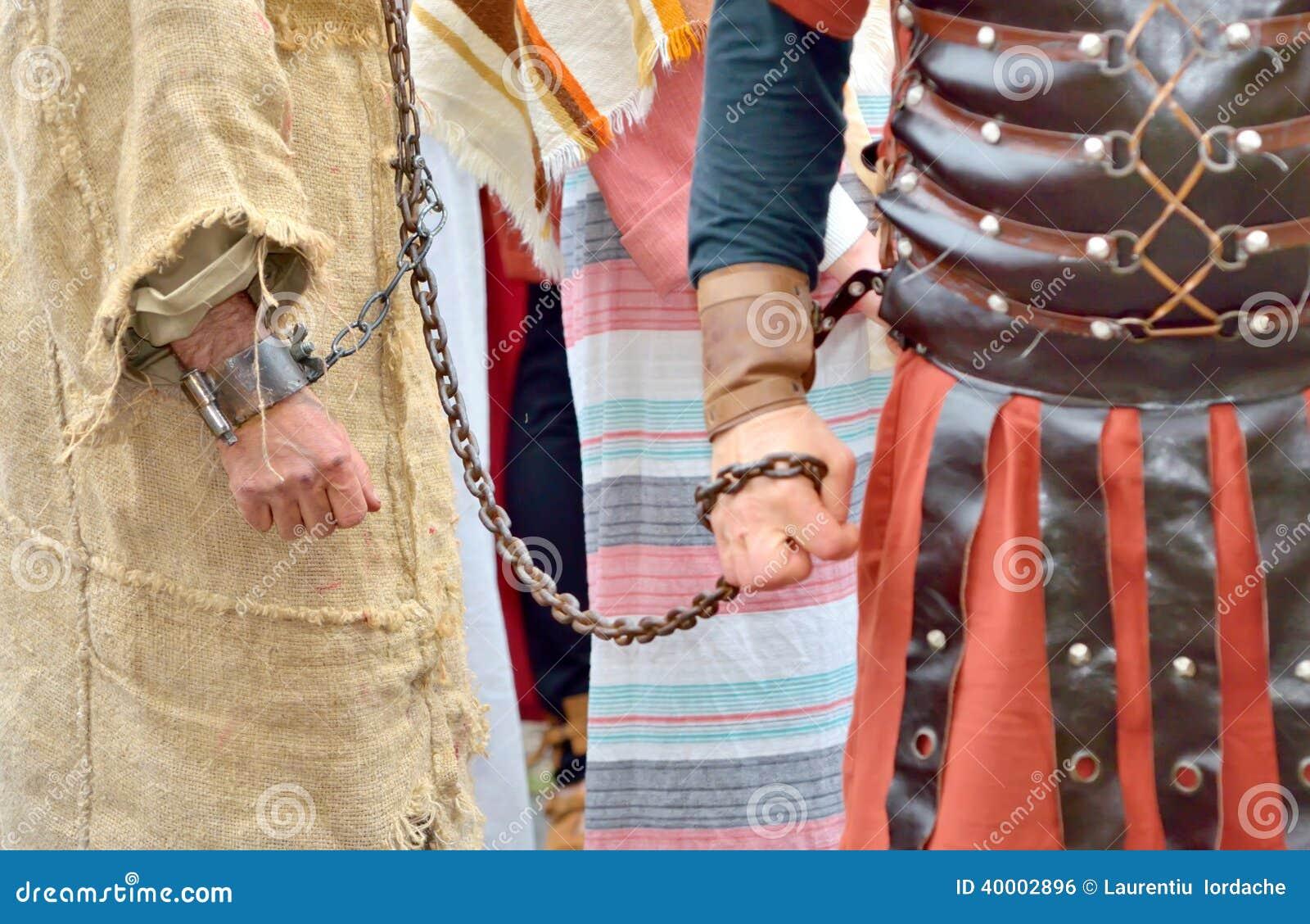 Roman Soldier And Prisoner Stock Photo - Image: 40002896