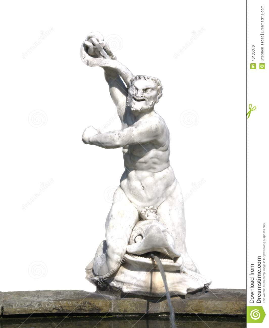 Roman Statue Of Neptune Riding A Dolphin Stock Photo