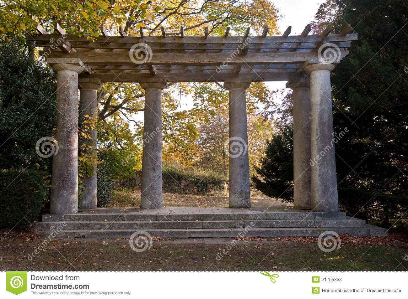 Roman Style Pagoda With Pillars And Trellis Stock Image Image of