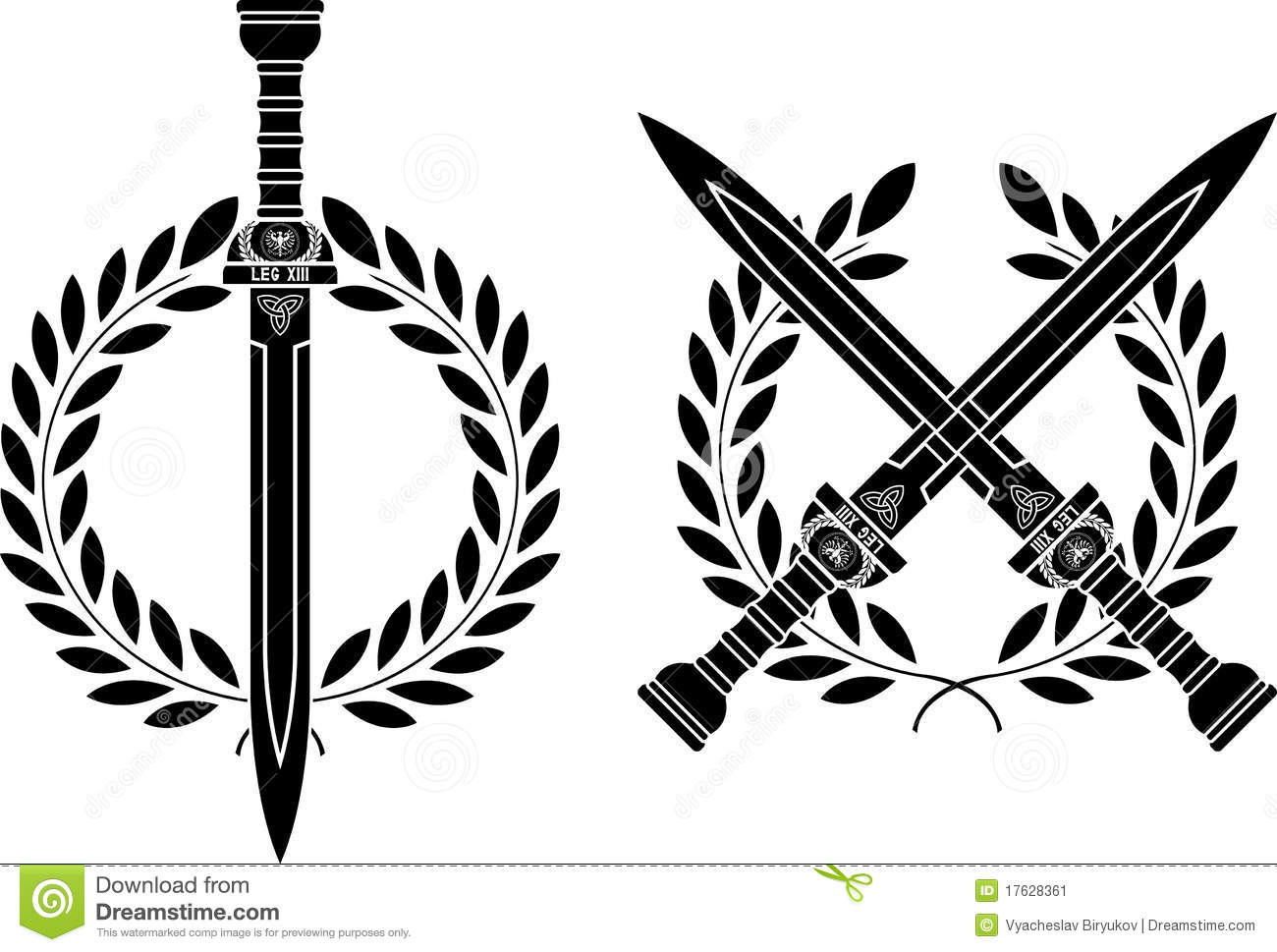 Roman Swords And Wreath Stock Vector Illustration Of Creativity
