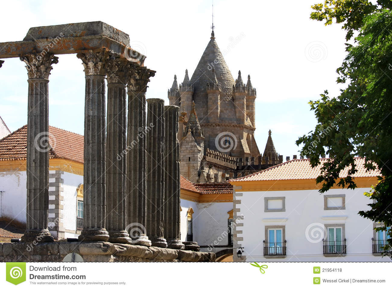 Roman Temple and cathedral in Evora, Portugal