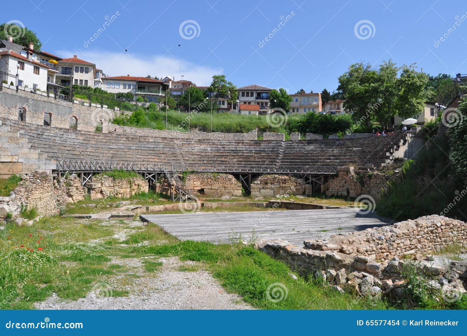 Roman Theater antigo em Ohrid Macedônia