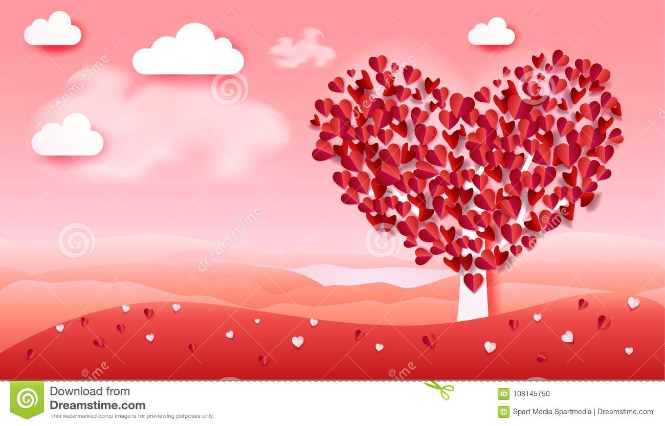 Romance Love Valentines Day Tree Hearts Petals Landscape Stock