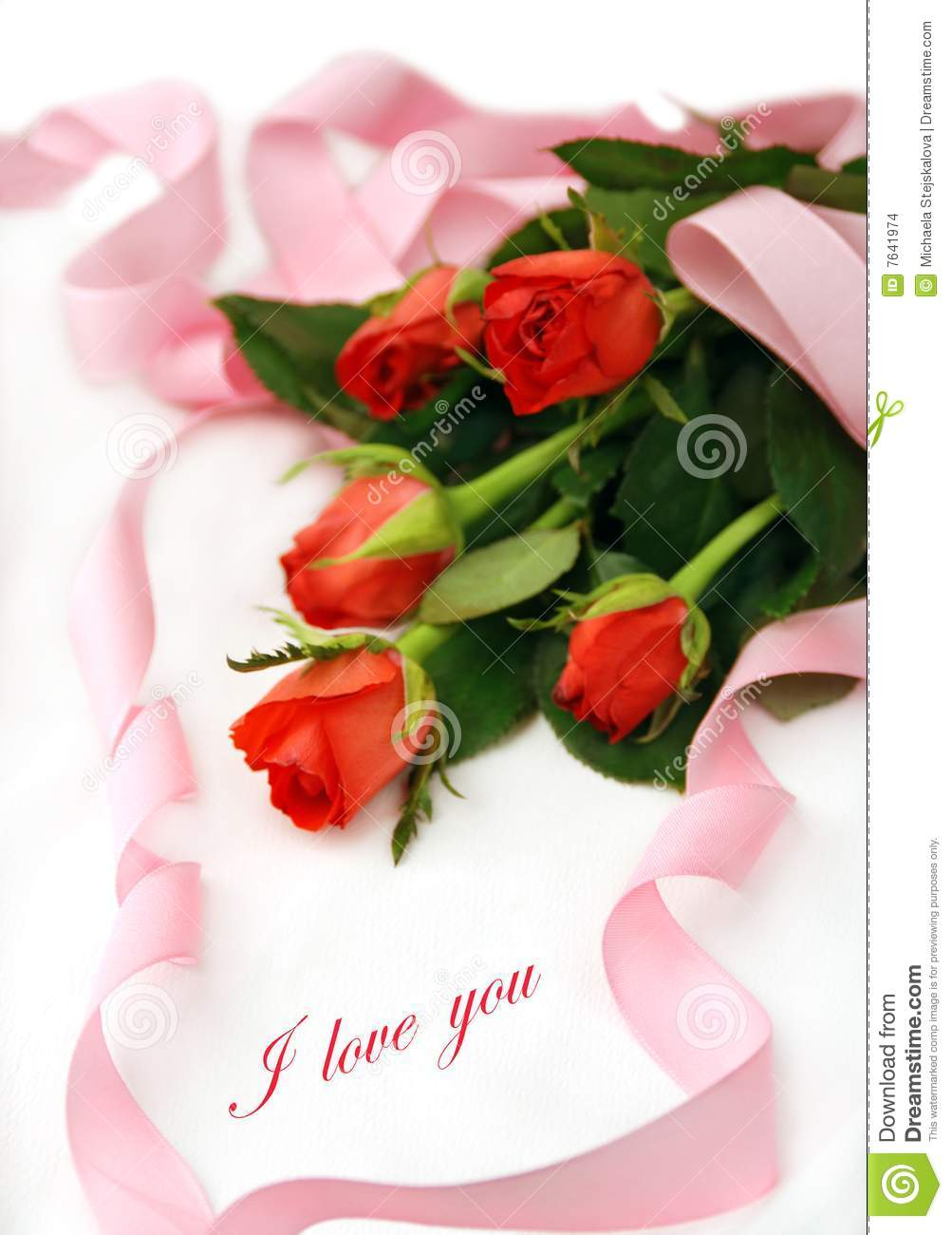 Romance With Roses And Love Message Stock Photo Image Of