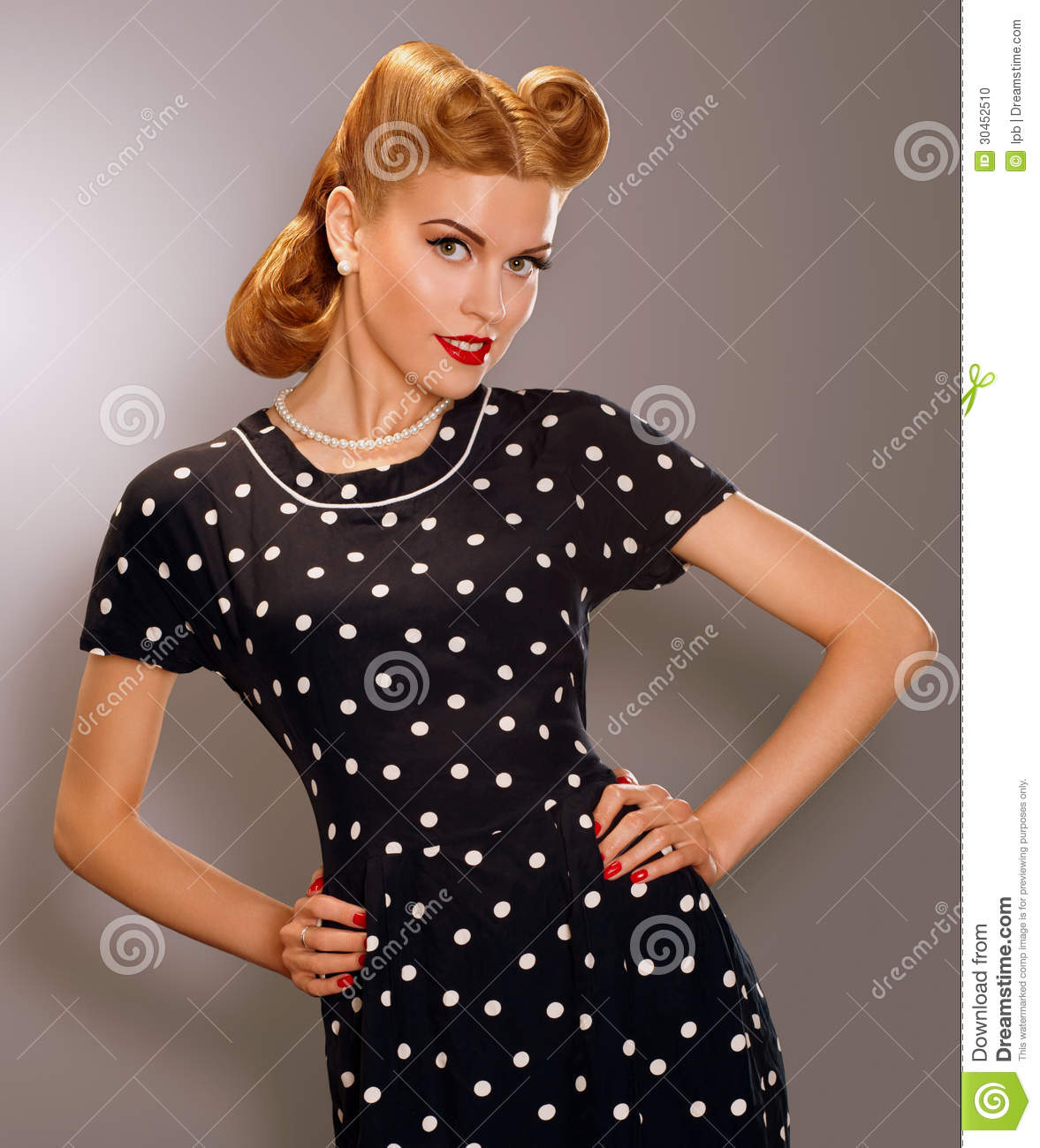 romance styled woman in blue retro polka dot dress pin up style stock photo image 30452510. Black Bedroom Furniture Sets. Home Design Ideas