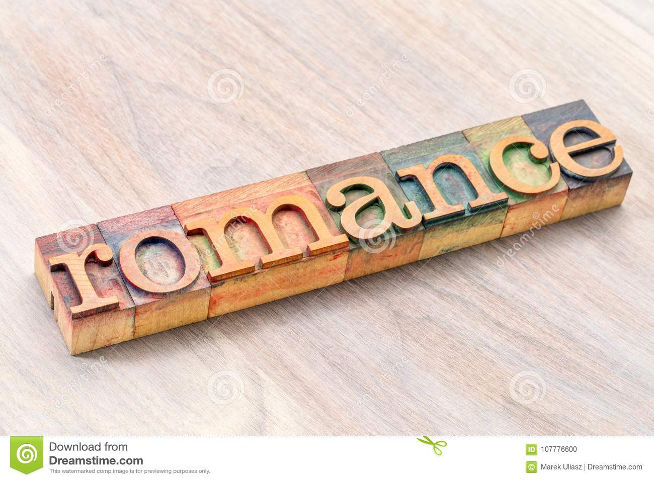 romance word typography in wood type stock photo image of sign