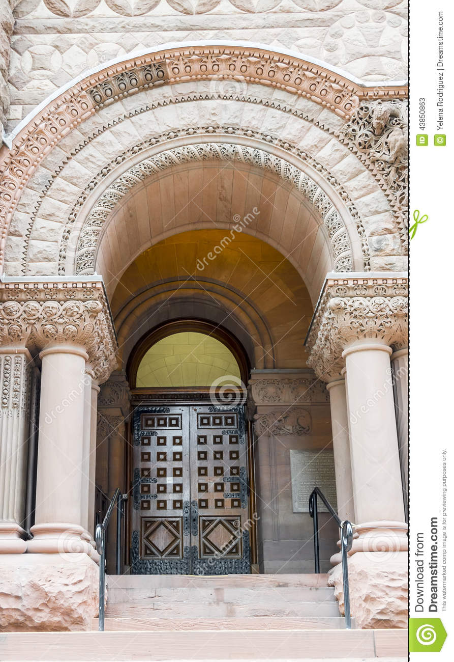 Romanesque revival door and arch in old city hall toronto