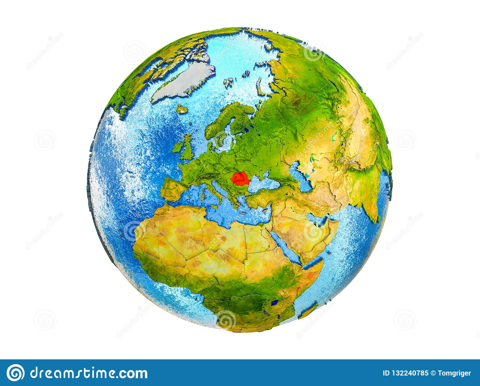 Map Of Romania On 3D Earth Isolated Stock Illustration ...
