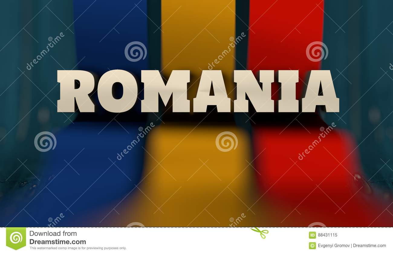 romania flag design concept flag made from curved stripes country name image relative to travel and politic themes 3d rendering