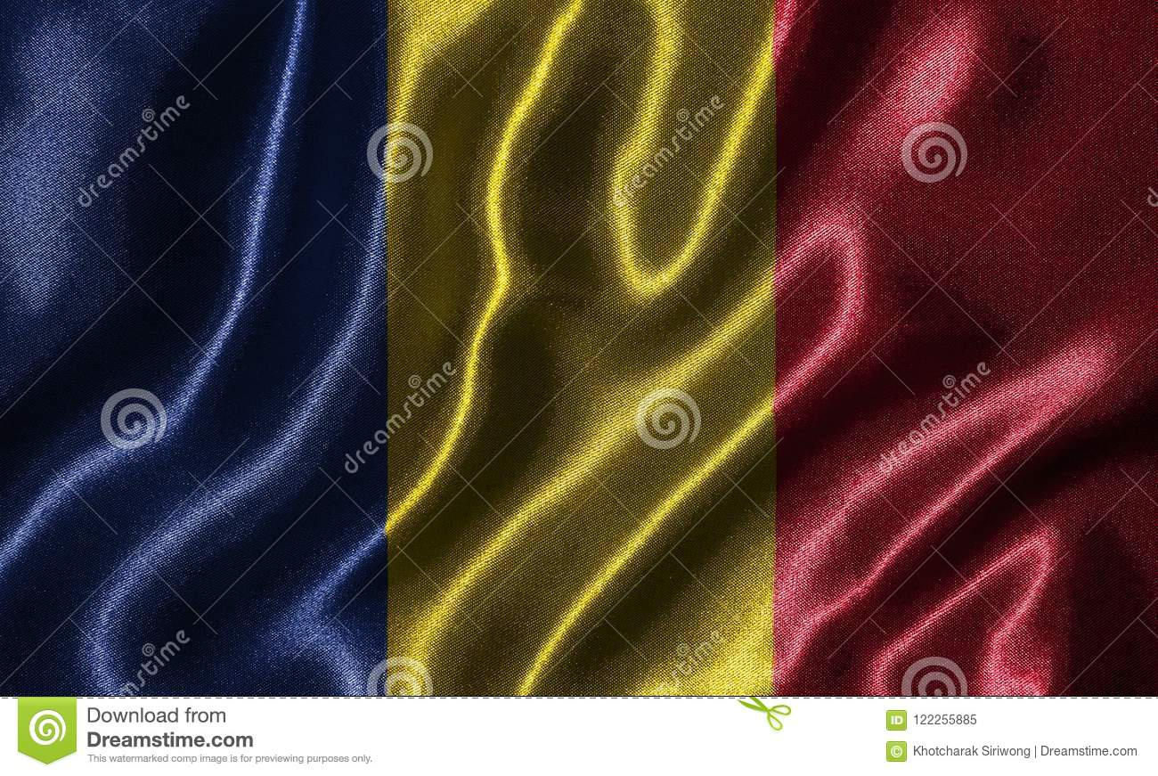 Wallpaper By Romania Flag And Waving Flag By Fabric Stock