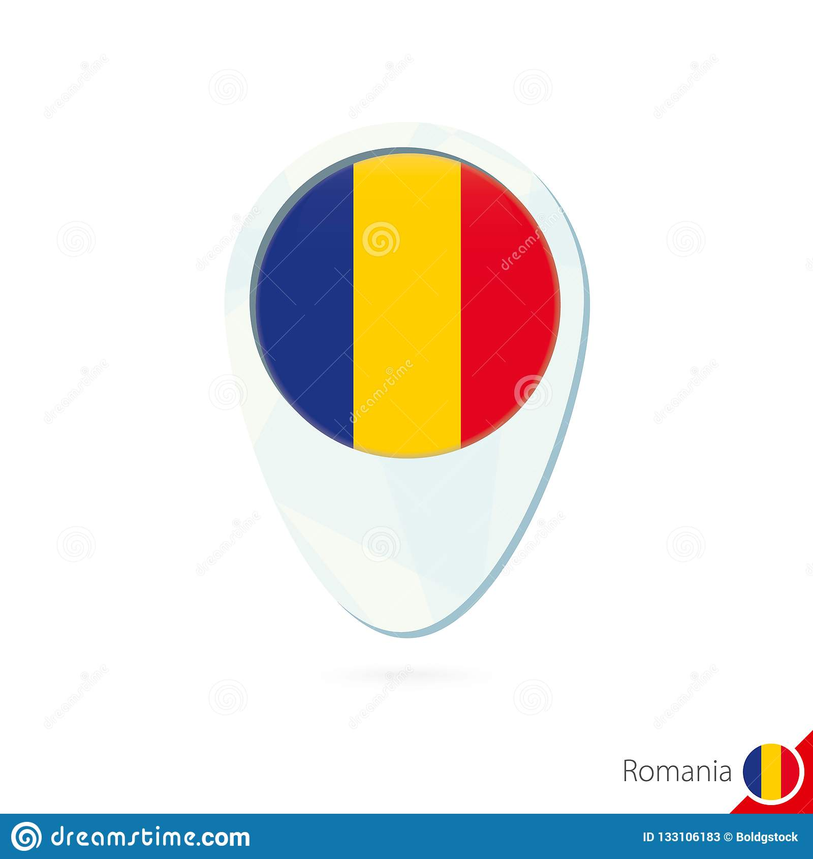 Romania Flag Location Map Pin Icon On White Background Stock ...