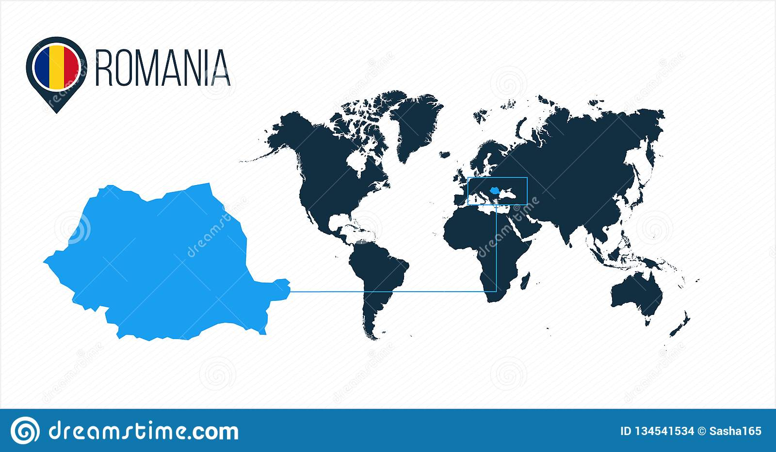 Romania Location On The World Map For Infographics. All ...