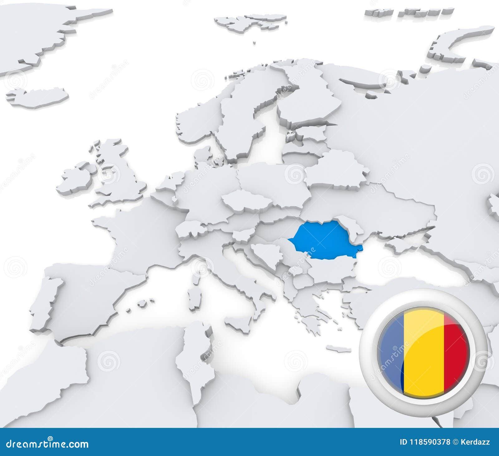 Romania On Map Of Europe.Romania On Map Of Europe Stock Illustration Illustration Of Romania