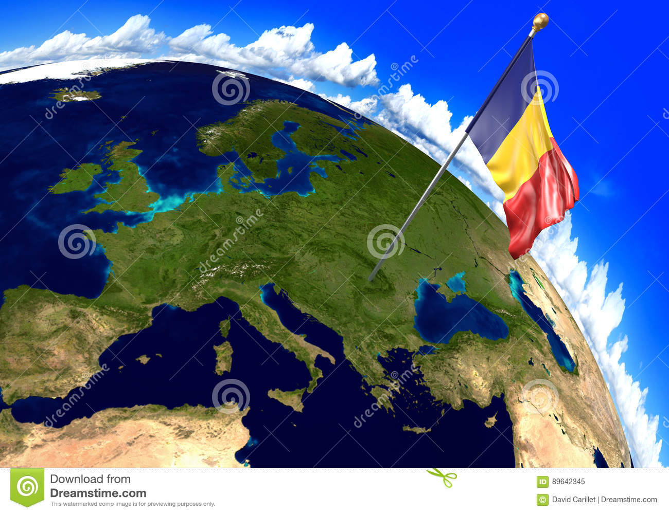 Romania National Flag Marking The Country Location On World Map. 3D ...