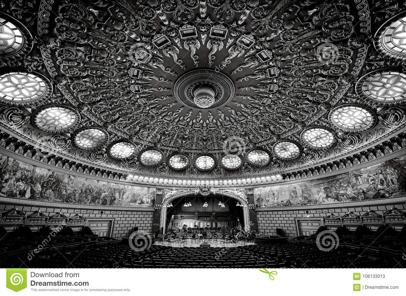 Building. Landmark. Romanian Atheneum, an important concert hall and a landmark in Bucharest, Romania