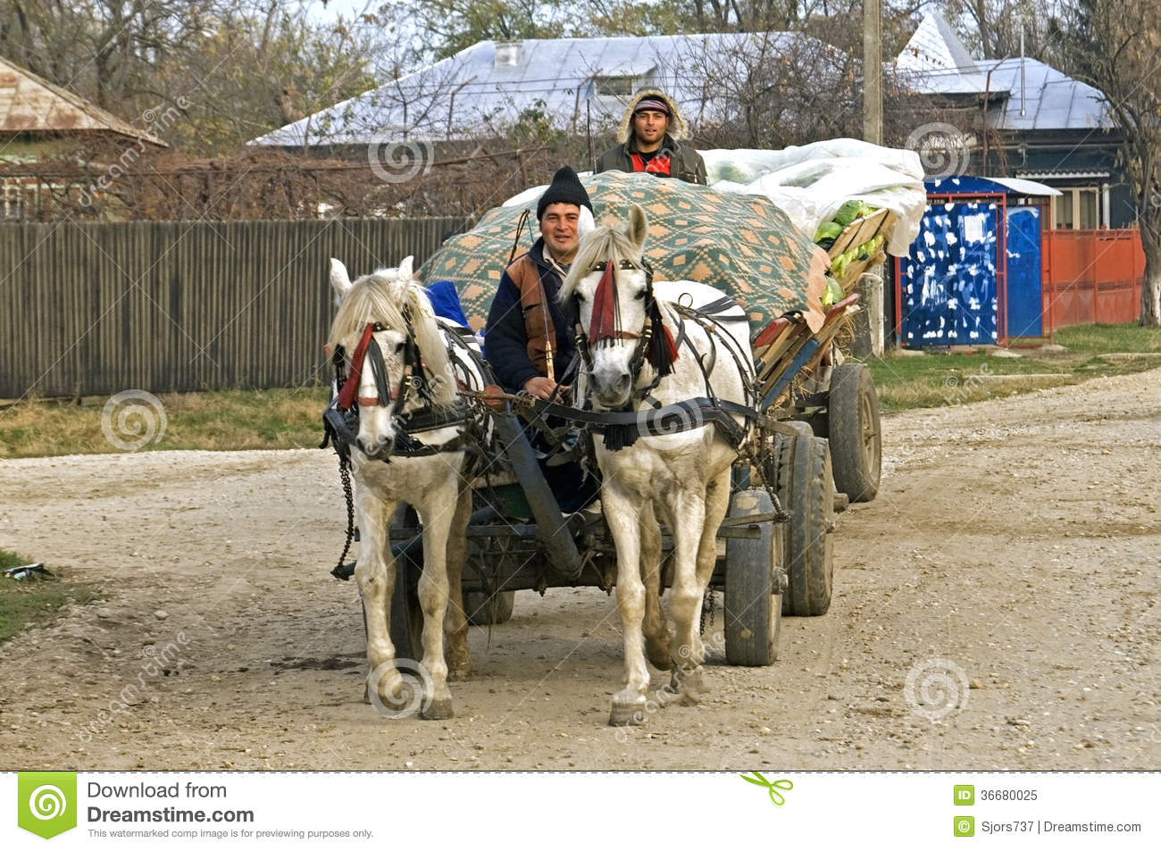 Romanian Farmers On Road With Horse And Carriage Editorial Image ...
