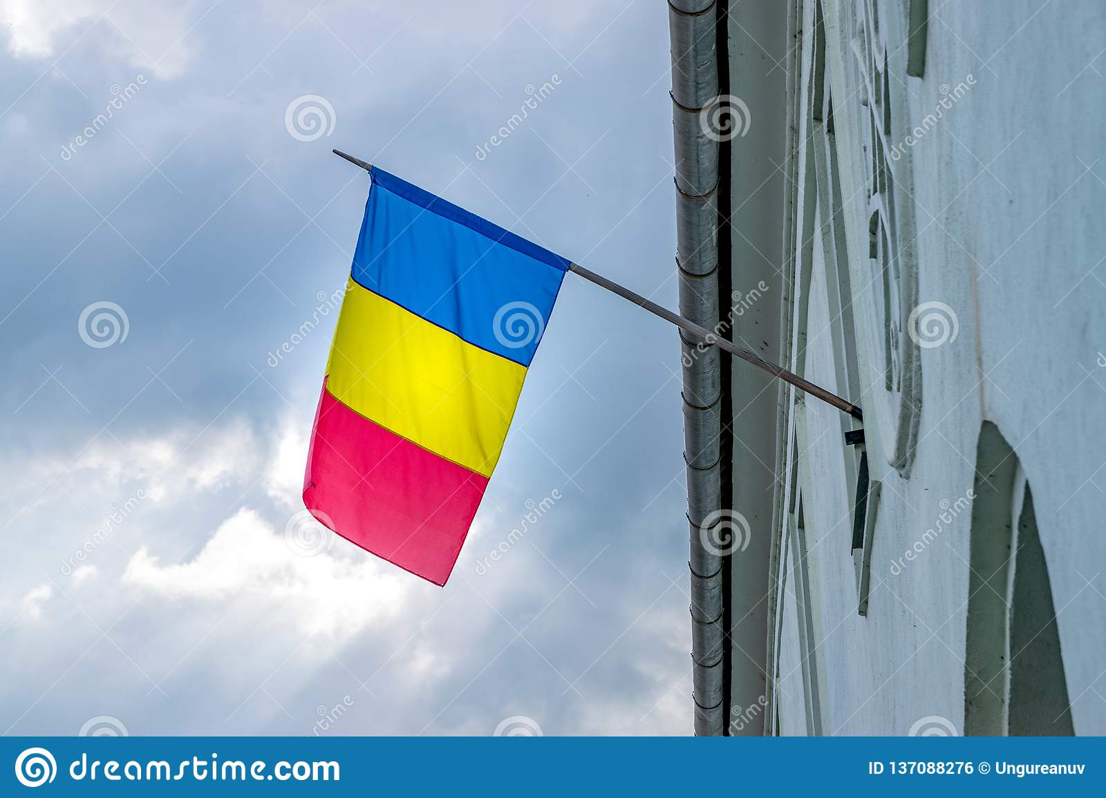 Romanian Flag On A House In Sibiu Romania Stock Photo Image Of Romanian Environment 137088276
