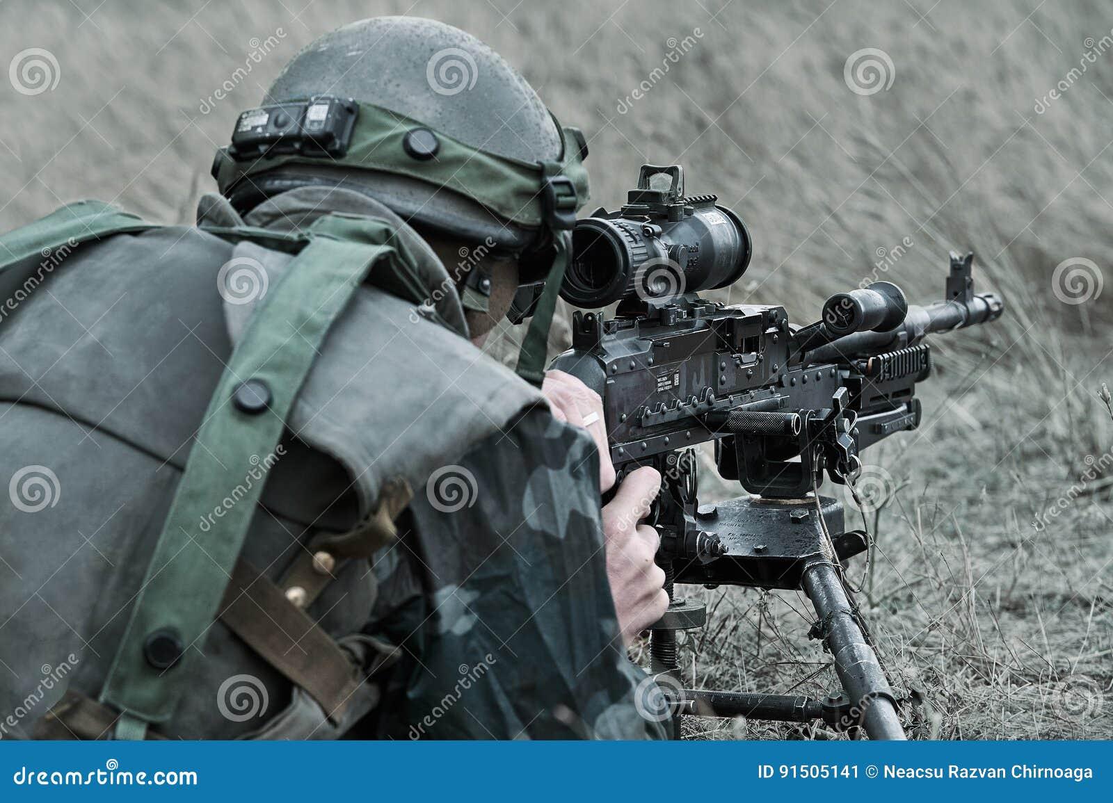Romanian Infantry With Machine Gun M240 Editorial Photo