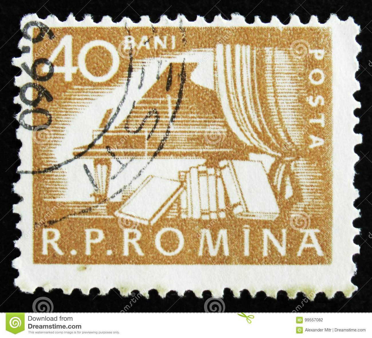 MOSCOW, RUSSIA - APRIL 2, 2017: A post stamp printed in Romania shows Piano in hall and books, circa 1960