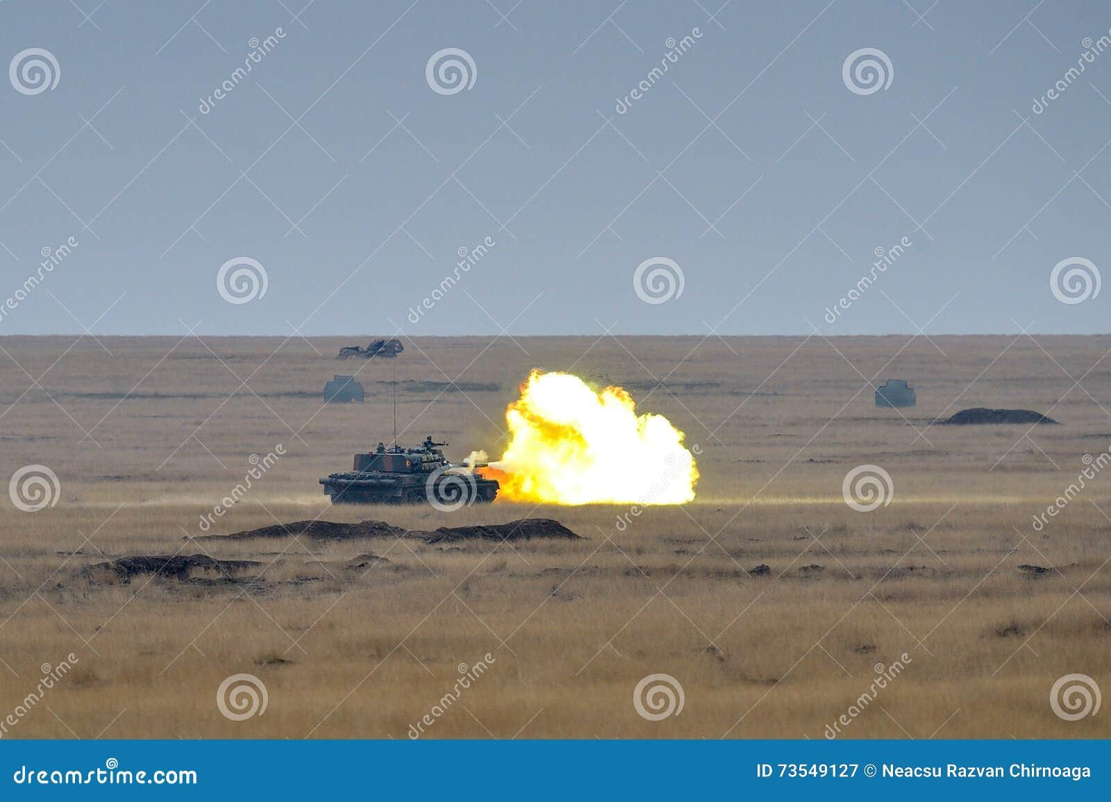 Romanian Tank TR-85M1 Firiring In Military Polygon Editorial