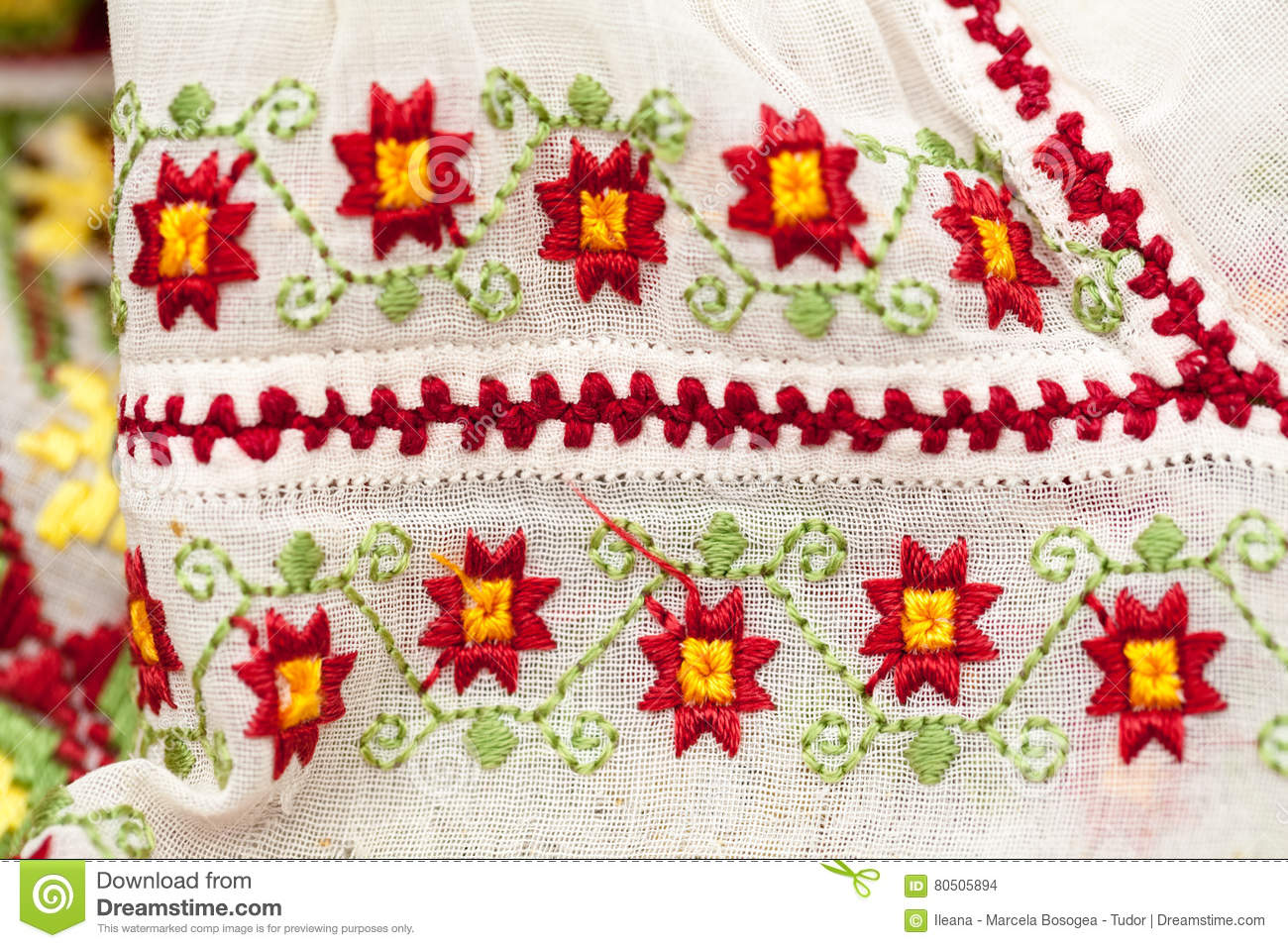 Romanian Traditional Blouse Textures And Traditional Motifs Stock Image