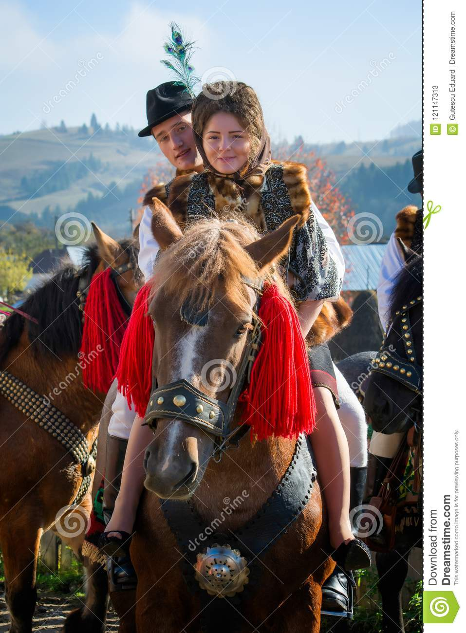 Romanian traditional costume in Bucovina county on celebration time