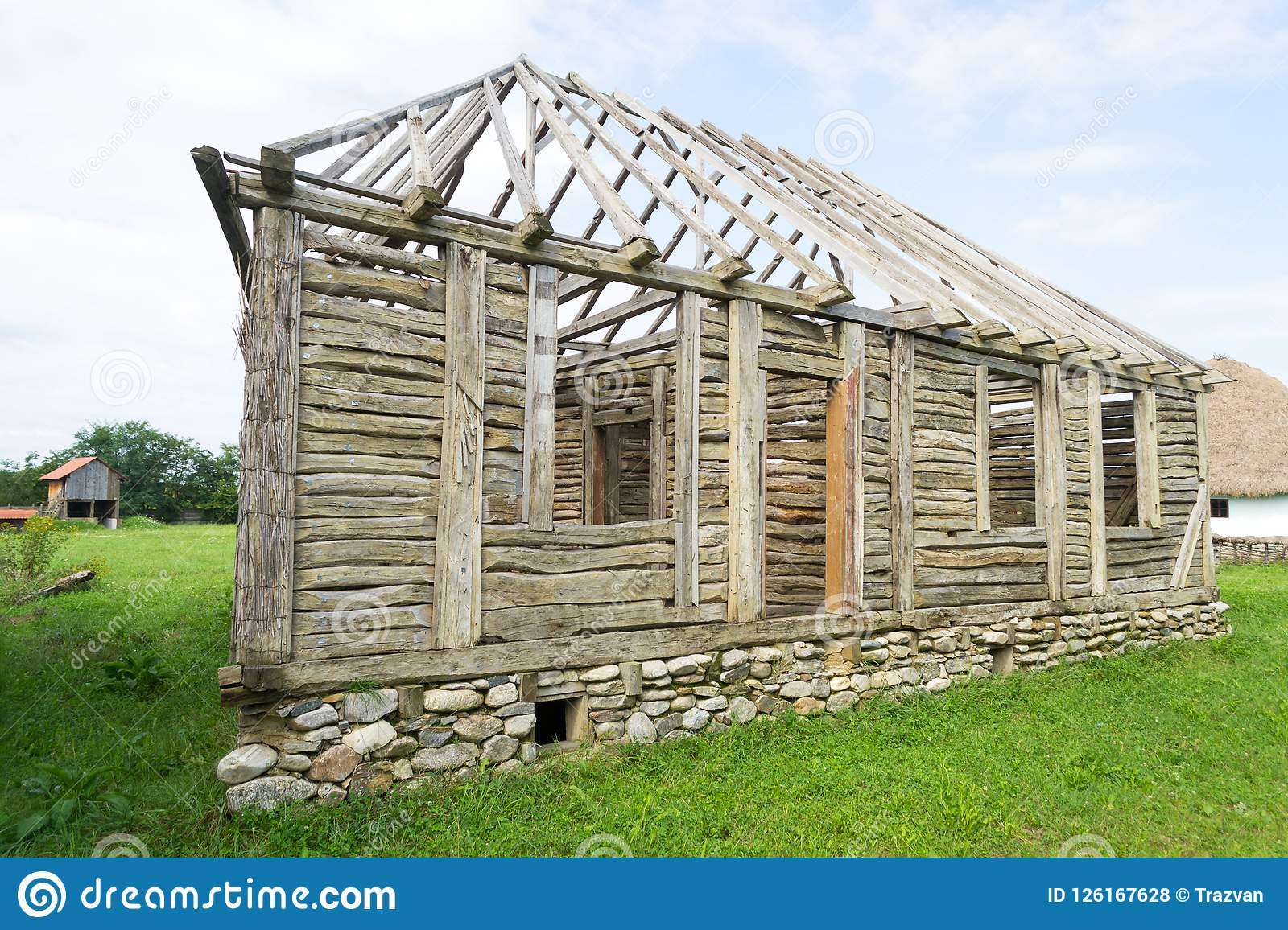 Romanian traditional wood house frame