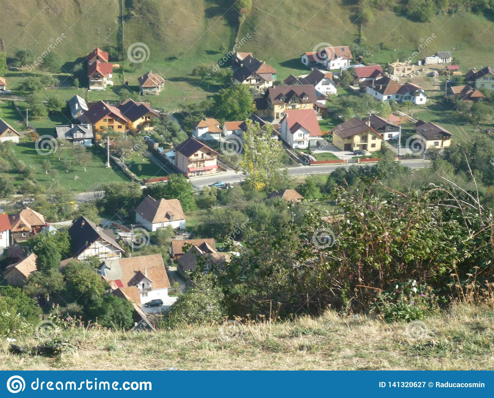 Romanian village posed from above