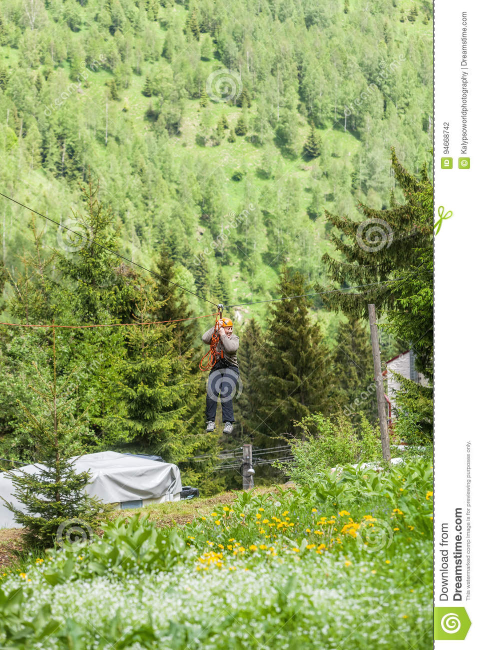 Romanian Woman Wearing Casual Clothing On Zip-Line