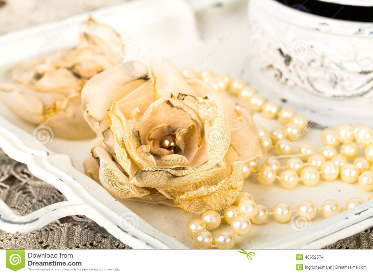 Romantic Background With Roses, Pearls Necklace, Old Lace Stock Photo ...