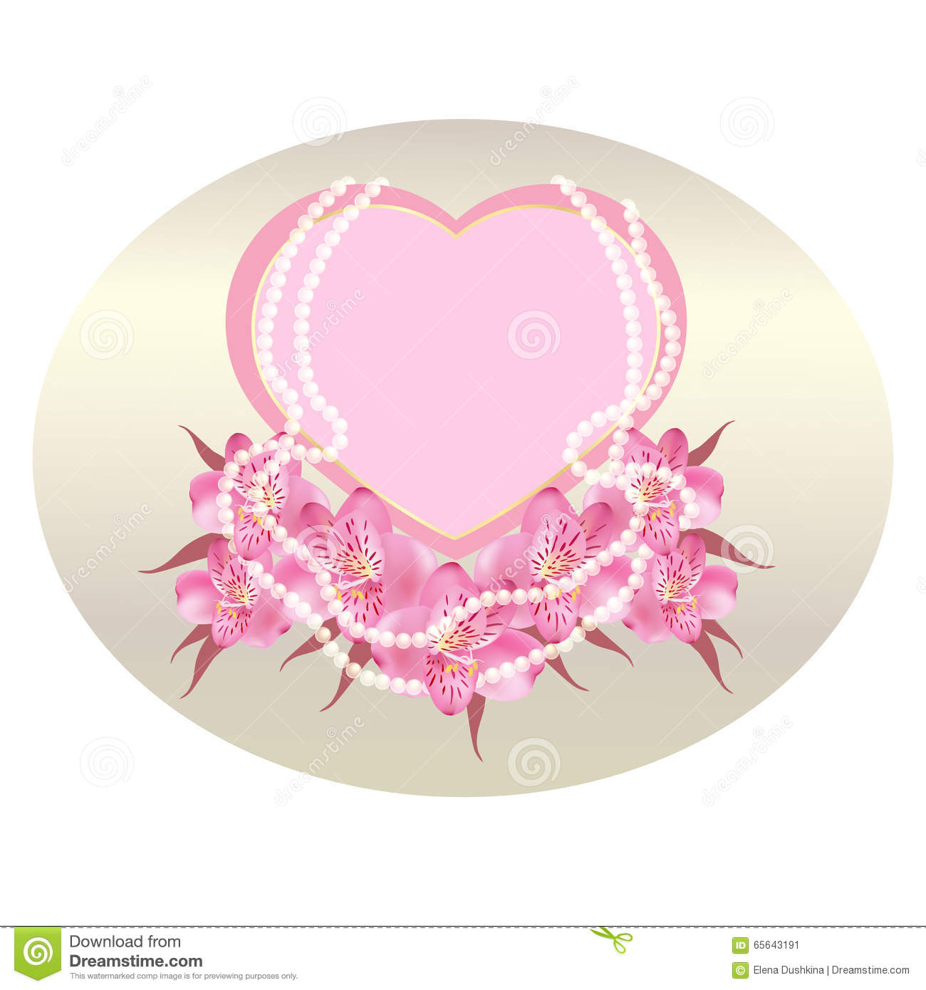 Romantic Background For Text With Hearts Pink Flowers And Beads
