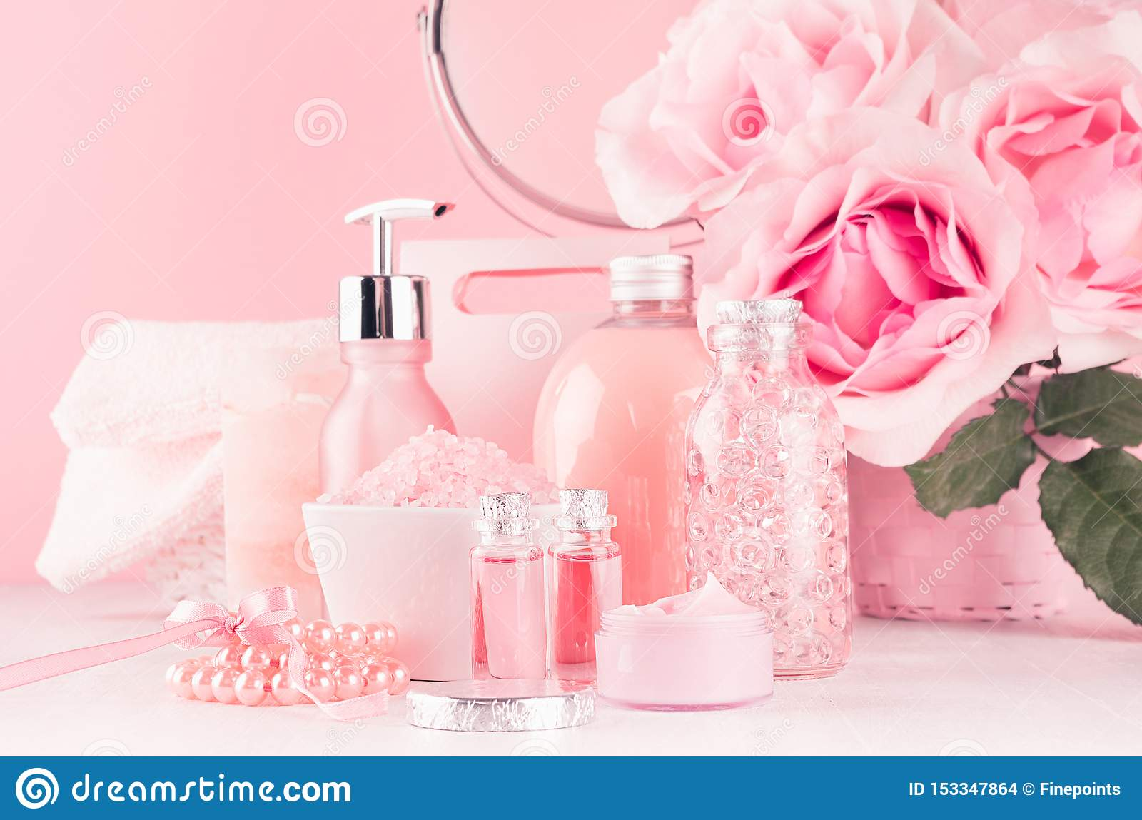 Romantic Bathroom Interior In Pastel Pink Silver Color Flowers Round Mirror Bath Accessories Cosmetic Products Cream Salt Stock Photo Image Of Delicate Light 153347864