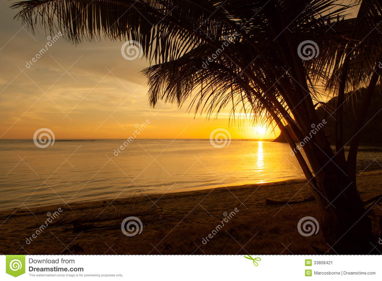 Romantic Pictures Of Tropical Beaches: Romantic Beach By Sundown Stock Image