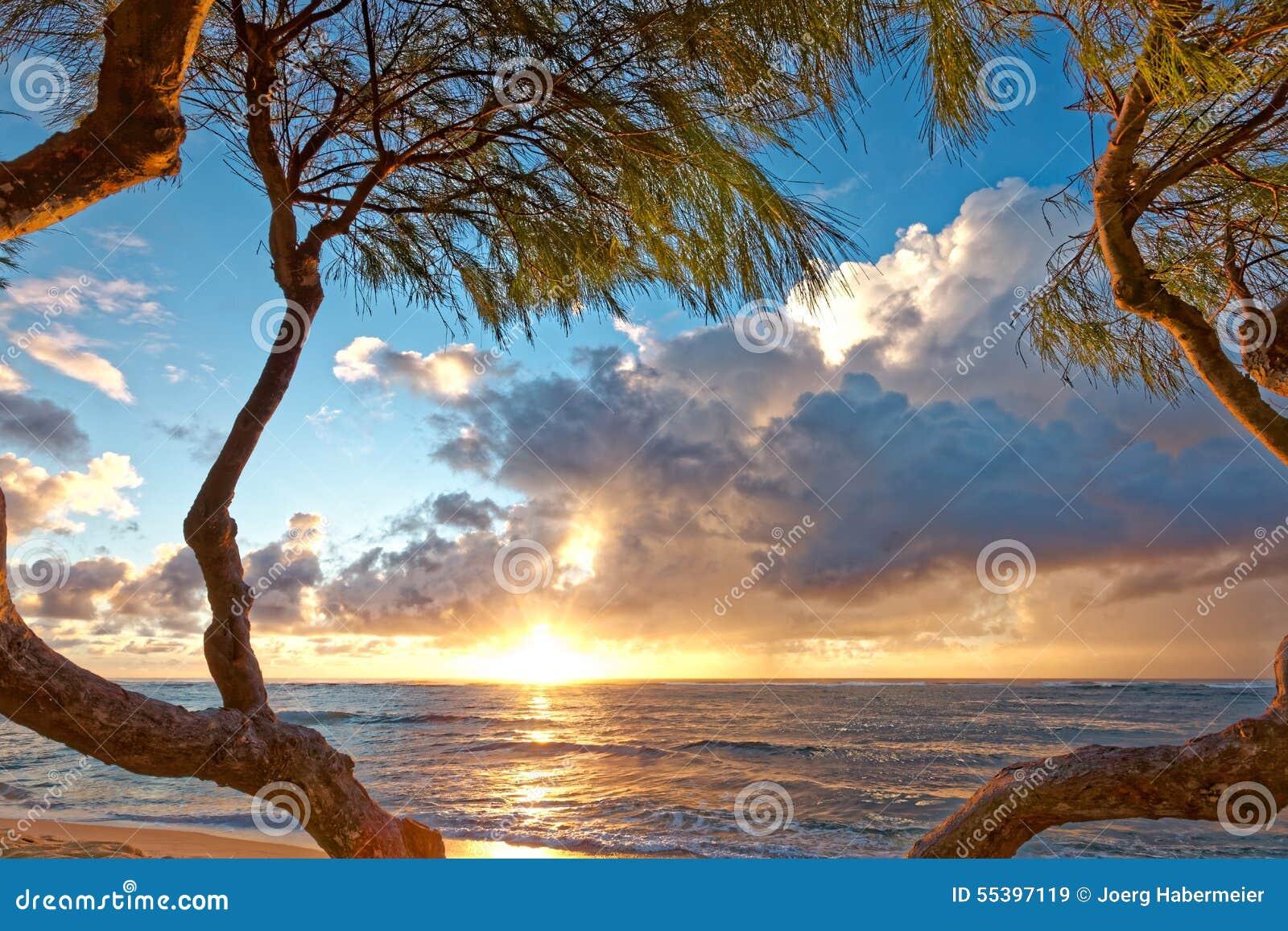 Tropical Island Sun: Romantic Beach Sunrise On Tropical Island With Sun And