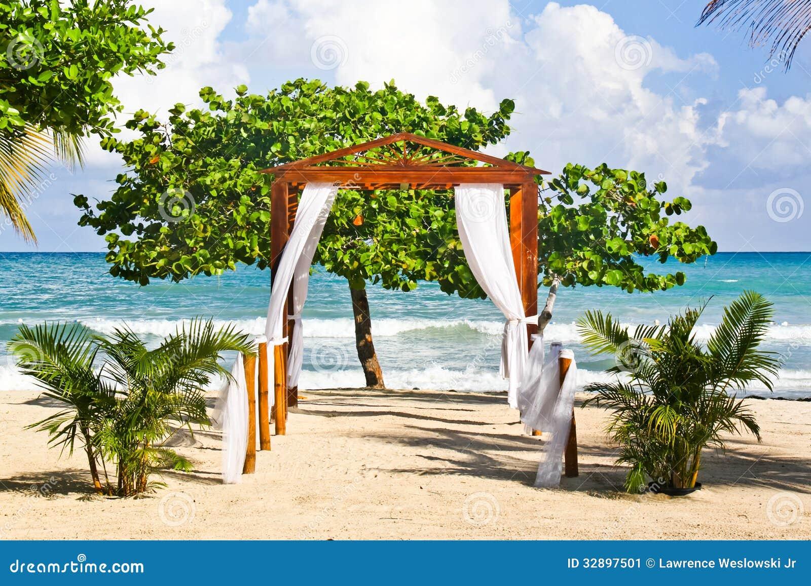 Romantic Beach Wedding Spot In Jamaica Stock Image